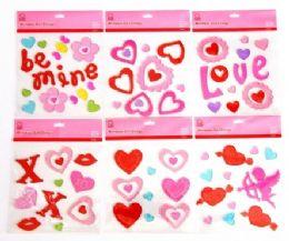 72 Units of Valentine's Window Gel Clings - Valentine Decorations