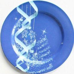 "24 Units of Plate 13"" Blue/White Tree & Ornament - Christmas Ornament"
