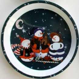 "24 Units of 3 Snowmen Tray 11.75"" Round - Christmas Novelties"