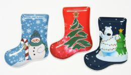 "24 Units of Plate, Stocking Shape - 3 Designs, 9-1/2"" - Christmas Stocking"