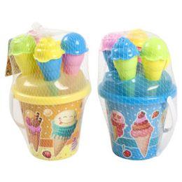 24 Units of 6 Piece Ice Cream Beach Play Pail Set - Beach Toys