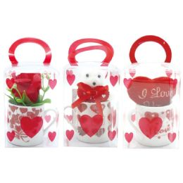 96 Units of Six Piece Lip Pick With Glitter - Valentine Decorations