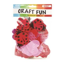 144 Units of EVA Heart Beetle Mix - Valentine Cut Out's Decoration