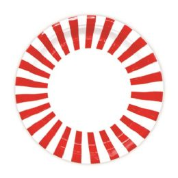 144 Units of Seven Inch Paper Plate Stripe Red - Valentine Decorations