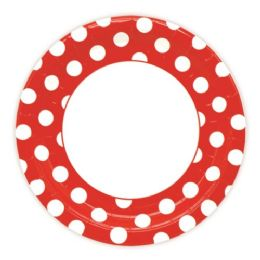 96 Units of Nine Inch Eight Count Paper Plate Red - Valentine Decorations