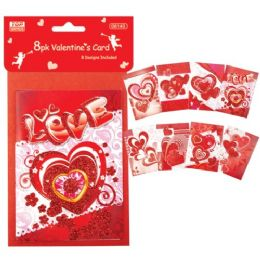 96 Units of Valentines Day Mini Card 8 Pack - Valentine Decorations