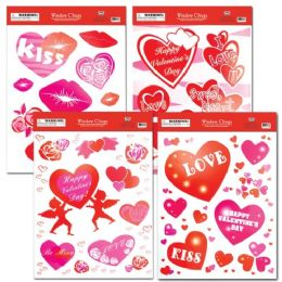 96 Units of Valentines Day Window Cling - Valentine Decorations