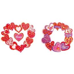 96 Units of Valentines Day Three D Cutout With Glitter - Valentine Cut Out's Decoration