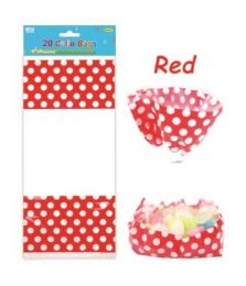 144 Units of Polka Dot Loot Bag Red - Valentine Gift Bag's