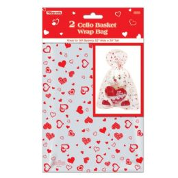 144 Units of Cello Basket Wrap Bag - Valentine Gift Bag's