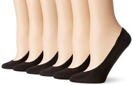 180 Units of Women's Mesh No Show / Silicone No Slip Loafer Sock Liner Black - Womens Foot Liners