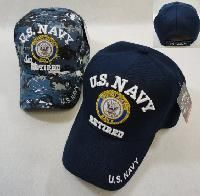 24 Units of LICENSED US NAVY RETIRED BALL CAP *ASSORTED COLORS - Military Caps
