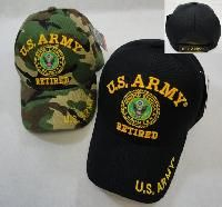 24 Units of LICENSED US ARMY RETIRED BALL CAP *ASSORTED COLORS - Military Caps