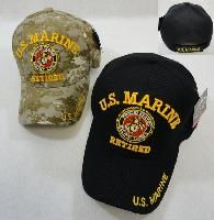 24 Units of LICENSED US MARINE RETIRED BALL CAP *ASSORTED COLORS - Military Caps