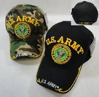 24 Units of Licensed Us Army [seal] Ball Cap *assorted Colors - Military Caps
