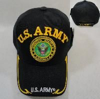 24 Units of Licensed Us Army [seal] Ball Cap *black Only - Military Caps