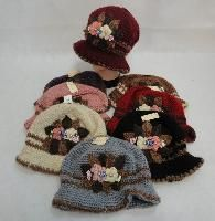 36 Units of LADIES KNITTED HAT [FLOWER CLUSTER] - Fashion Winter Hats