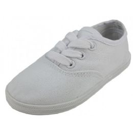 24 Units of Children's Lace Up Casual Canvas Shoes White Color Only - Unisex Footwear