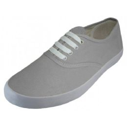 24 Units of Women's Lace Up Casual Canvas Shoes ( *Gray Color ) - Women's Sneakers