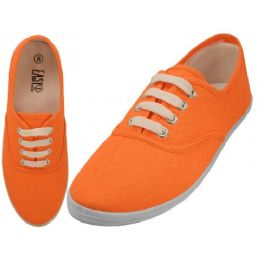 24 Units of Women's Lace UP Casual Canvas Shoes ( *Neon Orange ) - Women's Sneakers