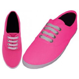 24 Units of Women's Lace Up Casual Canvas Shoes ( *Neon Fuchsia ) - Women's Sneakers