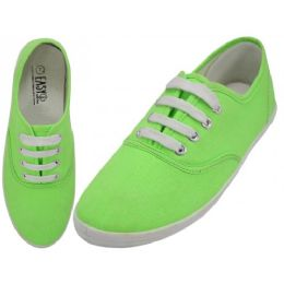 24 Units of Women's Lace Up Casual Canvas Shoes ( *Neon Green ) - Women's Sneakers