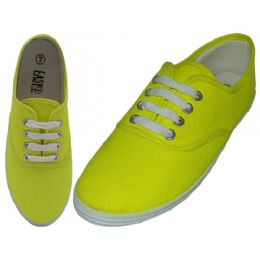 24 Units of Women's Lace Up Casual Canvas Shoes ( *Neon Yellow ) - Women's Sneakers