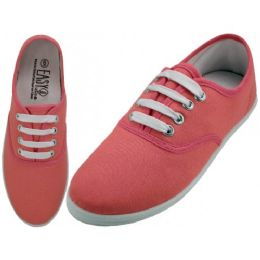 24 Units of Women's Lace Up Casual Canvas Shoes ( *Persimon Color ) - Women's Sneakers