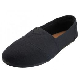 36 Units of Women's Slip On Casual Canvas Shoe ( * All Black Color ) - Women's Sneakers