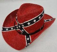 12 Units of REBEL FLAG COWBOY HAT - Cowboy & Boonie Hat