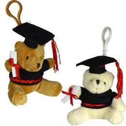 48 Units of Plush Graduation Teddy Bear Zipper Pull Keychains - Graduation