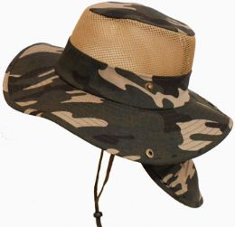 60 Units of Camouflage Mesh Hat With/ Back Flap - Cowboy & Boonie Hat