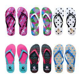 96 Units of Womens Flip Flops Assorted Abstract Pattern - Women's Flip Flops