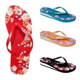 48 Units of Women's EVA Slippers/Roses Assorted Color - Women's Flip Flops