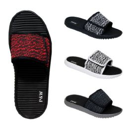 48 Units of Men's Velcro Slippers Assorted Colors - Men's Slippers