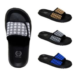 48 Units of Men's Velcro Slides Diamonds Assorted Colors - Men's Slippers