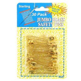 72 Units of Jumbo Brass Safety Pins - Sewing Supplies