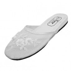 48 Units of Women's Mesh Upper With Sequin Comfort Slippers White Size 5-8 - Women's Slippers