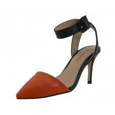 8 Units of Women's Angeles Shoes Ankle High Heel Triangle Close Toe Sandals Orange Color - Women's Heels & Wedges