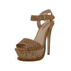 8 Units of Women's Angeles Shoes HI-Heel Sandals Tan Color - Women's Heels & Wedges