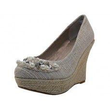 "11 Units of Women's""angeles Shoes High Wedge Sandal Beige Color - Women's Heels & Wedges"