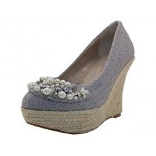 """10 Units of Women's""""angeles Shoes High Wedge Sandal Gray Color - Women's Heels & Wedges"""