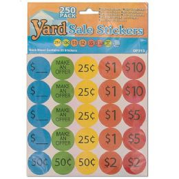 72 Units of 250 Piece Yard Sale Pricing Stickers - Labels ,Cards and Index Cards