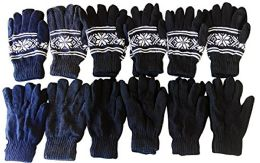 12 Pair Of excell Mens SnowFlake Fair Isle Gloves With Thermal Lining Assorted Colors - Magic Acrylic Gloves