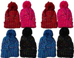 excell Value Pack Of Winter Beanie With Pom Pom, Assorted (8 Pack Sparkles With Faux Fur) - Winter Beanie Hats