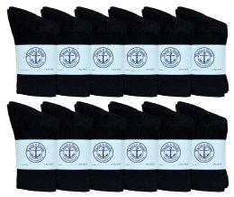 12 Units of Yacht & Smith Kids Premium Cotton Crew Socks Black Size 4-6 - Boys Crew Sock