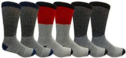 6 Pairs Crew Socks for Men, Cotton Athletic Sports Casual Sock by WSD (Gray w/ Colored Top) - Mens Crew Socks