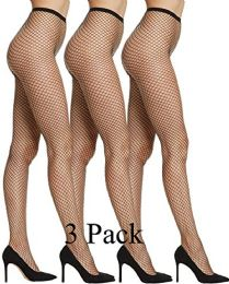 3 Units of Yacht & Smith Fishnet Pantyhose, High Waisted Mesh Stockings, Black, One Size - Womens Pantyhose