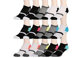 15 Pairs of WSD Womens High Performance Ankle Socks Low Cut Cushioned (Pack D) - Womens Ankle Sock