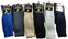 12 Pairs Of excell Mens Colored Super Slouch Socks Cotton Blend Boot Sock (Assorted B) - Mens Crew Socks